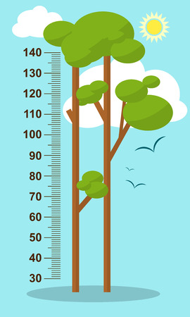 height measure: Trees on blue background. Children height meter wall sticker, kids measure. Vector illustration Illustration