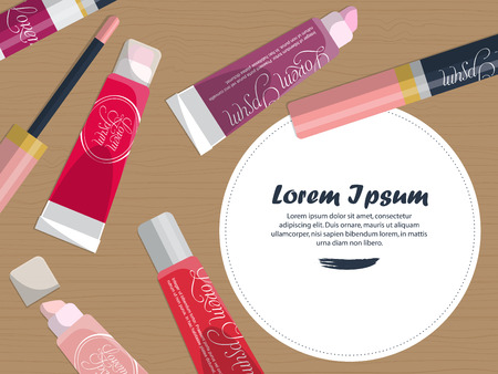 womanhood: Set of lip glosses on the table with place for your text. Vector illustration