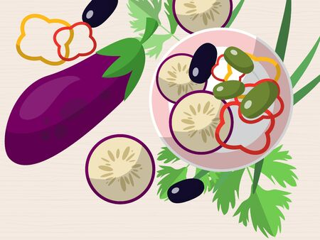 peppers: Still life with eggplant, chopped peppers, olives, fresh herbs and a plate on the table. Vector illustration