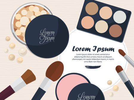 glamour makeup: Collection of powders and brushes on the table with space for your advertising. Vector illustration Illustration