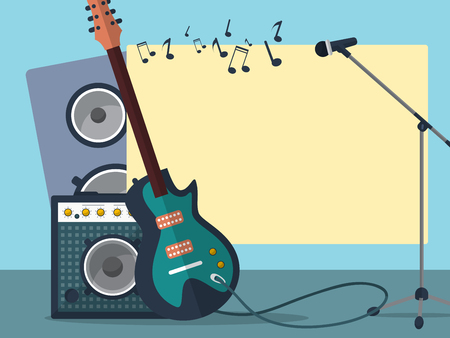combo: Frame with a guitar, combo amp, microphone, speaker and notes on a blue background. Vector illustration