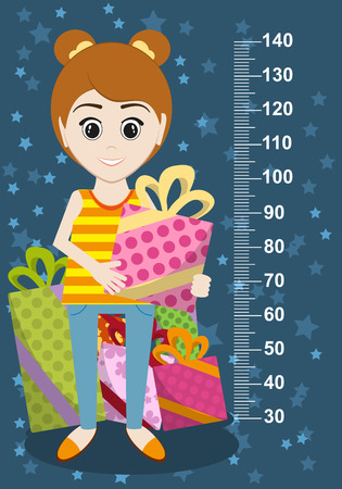 centimeter: Cute girl with gifts meter wall from 30 to 140 centimeter. Vector illustration Illustration