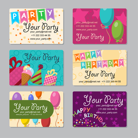 bannerette: Set of business card your party with gifts, balloons, ice cream and hat for your design. Vector illustration Illustration