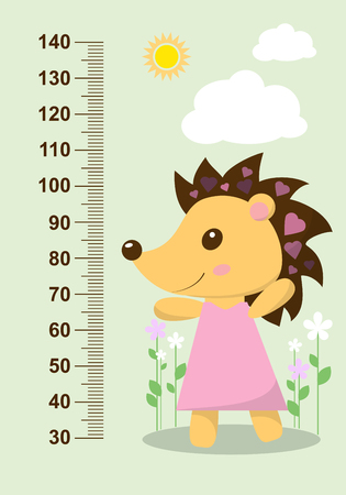 centimeter: Cute hedgehog on the background of flowers meter wall from 30 to 140 centimeter. Vector illustration