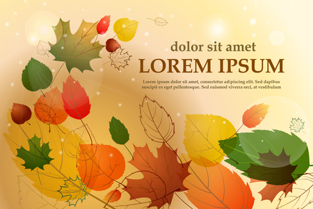 Colorful leafs with sample text. Autumn floral background. Vector illustration Illustration