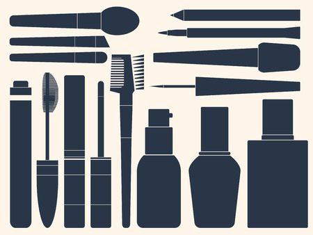 womanhood: Collection of womens cosmetics for your design. Silhouette. Vector illustration