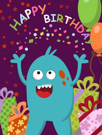 monstruo azul feliz con los regalos y los globos que celebra su cumpleaños. ilustración vectorial