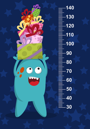 elevate: Happy blue monster with gifts on background with stars. Stadiometer. Vector illustration