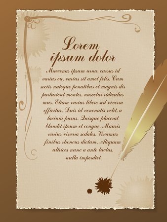 Old parchment with a pen and a place for text. Banco de Imagens - 98100292