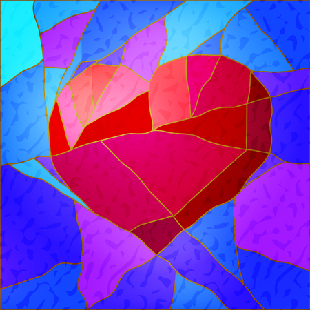 Abstract mosaic of heart Çizim