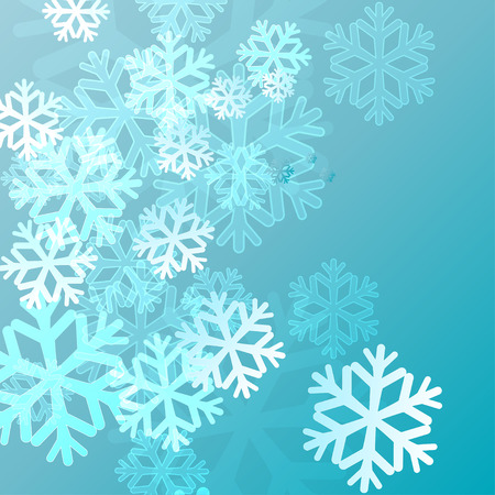 blue background with snowflakes in a cold winter. A card for Christmas or a holiday. Vector illustration