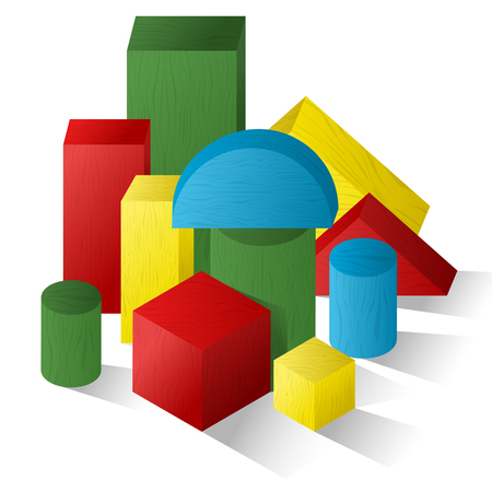 A set of geometric shapes. Childrens games. Puzzles. Vector illustration