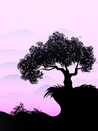 Lonely ebony grows on a hill in the violet sky. Vector illustration