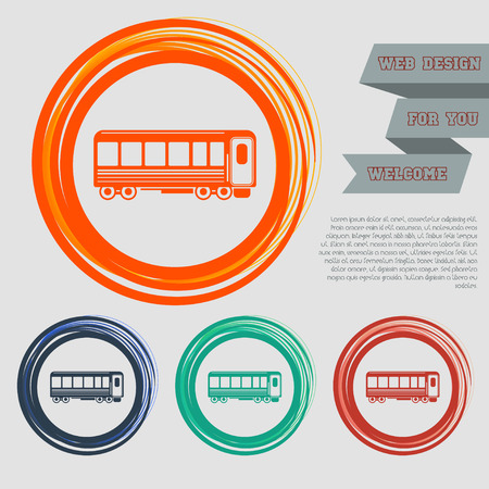 Passenger Wagons. Train icon on the red, blue, green, orange buttons for your website and design with space text. Vector illustration