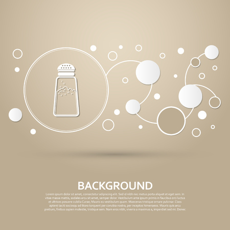 Salt or pepper shakers, Cooking spices icon on a brown background with elegant style and modern design infographic. Vector illustration