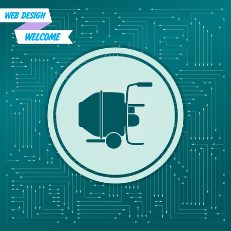 Concrete mixer icon on a green background, with arrows in different directions. It appears on the electronic board. Vector illustration