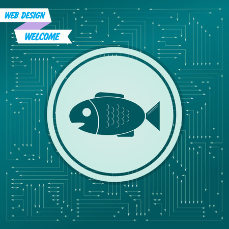 Fish icon on a green background, with arrows in different directions. It appears on the electronic board. Vector illustration