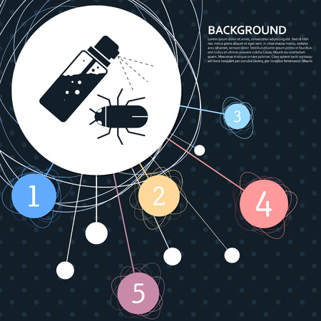 Mosquito spray, Bug Spray icon with the background to the point and with infographic style. Vector illustration