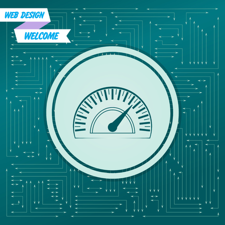 Speedometer icon on a green background, with arrows in different directions. It appears on the electronic board. Vector illustration Stock Illustratie