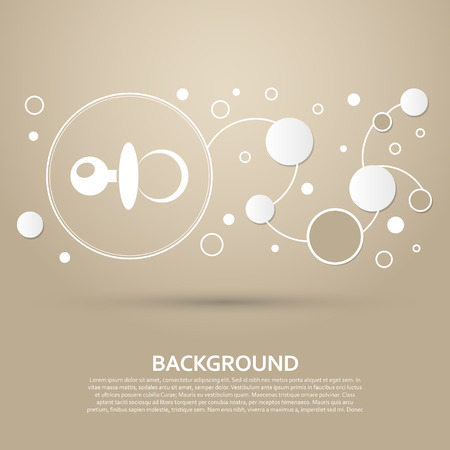 baby pacifier icon on a brown background with elegant style and modern design infographic. Vector illustration