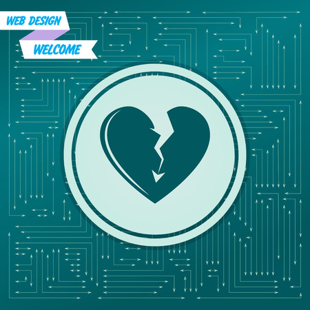 Broken heart icon on a green background, with arrows in different directions. It appears on the electronic board. Vector illustration Illustration