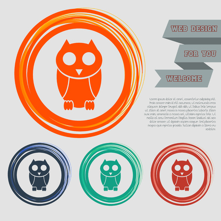 Cute owl cartoon character icon on the red, blue, green, orange buttons for your website and design with space text. Vector illustration