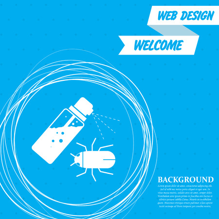 Mosquito spray, Bug Spray icon on a blue background with abstract circles around and place for your text. Vector illustration