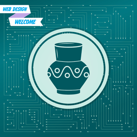 Vase, amphora icon on a green background, with arrows in different directions. It appears on the electronic board. Vector illustration