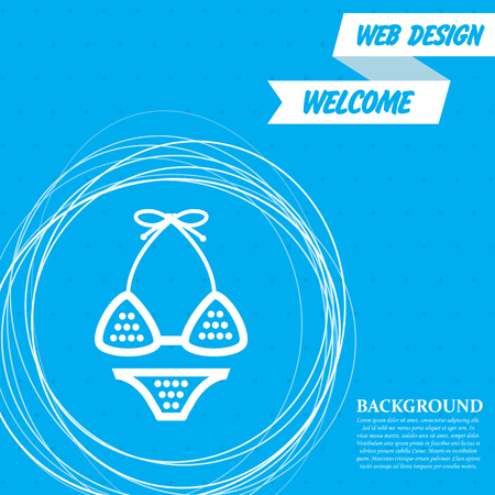 Underwear, bikini icon on a blue background with abstract circles around and place for your text. Vector illustration