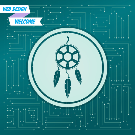 Dreamcatcher icon on a green background, with arrows in different directions. It appears on the electronic board. Vector illustration Illusztráció