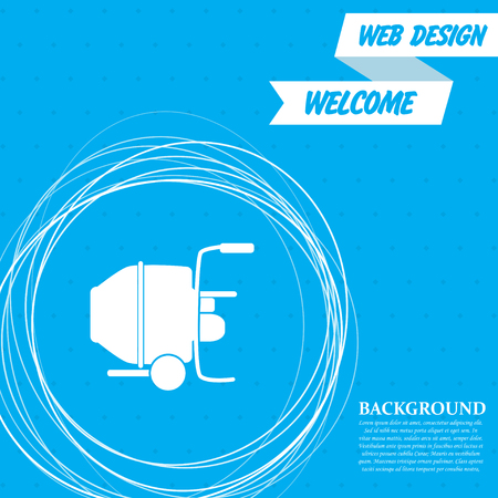 Concrete mixer icon on a blue background with abstract circles around and place for your text. Vector illustration