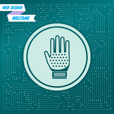 gloves icon on a green background, with arrows in different directions. It appears on the electronic board. Vector illustration
