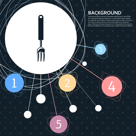 fork icon with the background to the point and with infographic style. Vector illustration Vectores