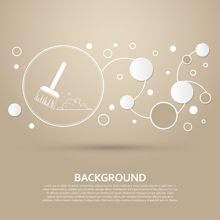 Broom icon on a brown background with elegant style and modern design infographic. Vector illustration Vettoriali