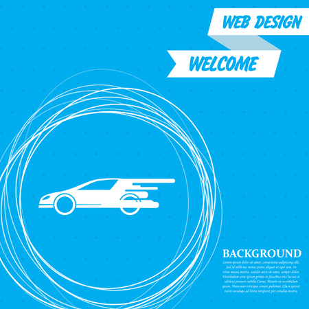 Super Car icon on a blue background with abstract circles around and place for your text. Vector illustration