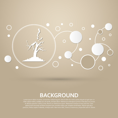 lightning and tree icon on a brown background with elegant style and modern design infographic. Vector illustration  イラスト・ベクター素材