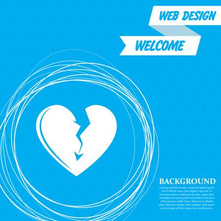 Broken heart icon on a blue background with abstract circles around and place for your text. Vector illustration Vectores