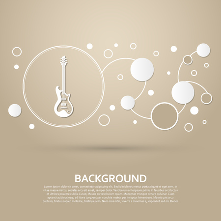 Electric guitar icon. on a brown background with elegant style and modern design infographic. Vector illustration Illustration