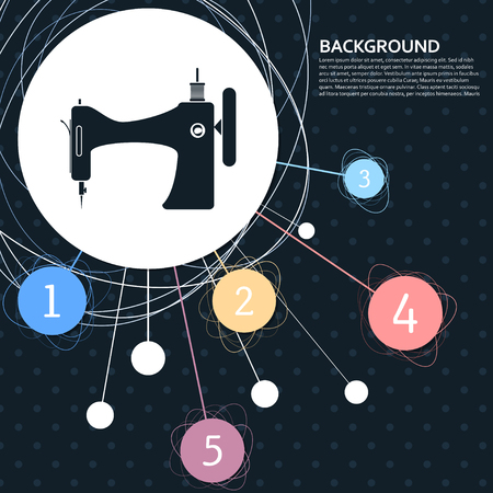 Sewing Machine icon with the background to the point and with infographic style. Vector illustration