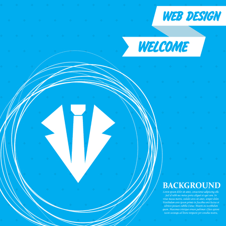 Necktie icon on a blue background with abstract circles around and place for your text. Vector illustration