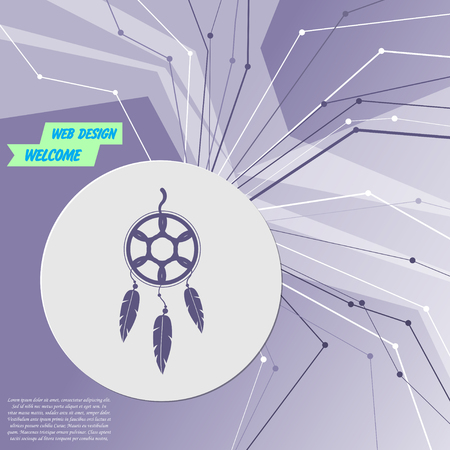 Dreamcatcher icon on purple abstract modern background. The lines in all directions. With room for your advertising. Vector illustration  イラスト・ベクター素材