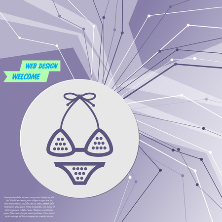 Underwear, bikini icon on purple abstract modern background. The lines in all directions. With room for your advertising. Vector illustration