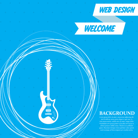 Electric guitar icon. on a blue background with abstract circles around and place for your text. Vector illustration