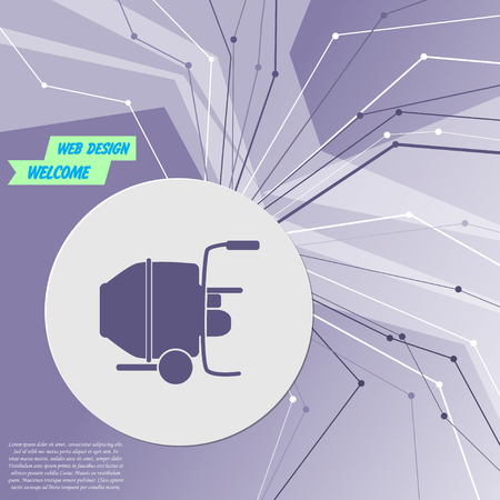 Concrete mixer icon on purple abstract modern background. The lines in all directions. With room for your advertising. Vector illustration