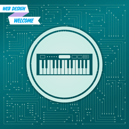 synthesizer icon on a green background, with arrows in different directions. It appears on the electronic board. Vector illustration Çizim
