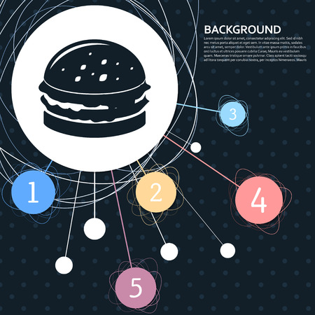 Burger, sandwich, hamburger icon with the background to the point and with infographic style. Vector illustration