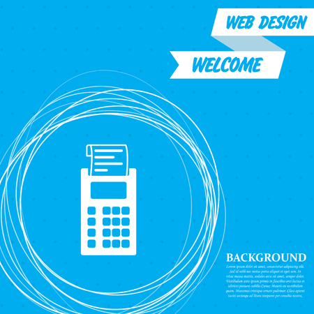 calculator icon on a blue background with abstract circles around and place for your text. Vector illustration