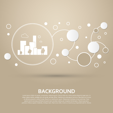 City Icon on a brown background with elegant style and modern design infographic. Vector illustration Stock Illustratie