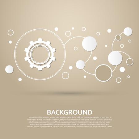 Zahnrad, Zahnradikone auf einem braunen Hintergrund mit elegantem Stil und modernem Design Infografik. Vektorillustration