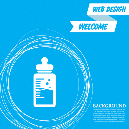 Baby milk bottle icon on a blue background with abstract circles around and place for your text. Vector illustration